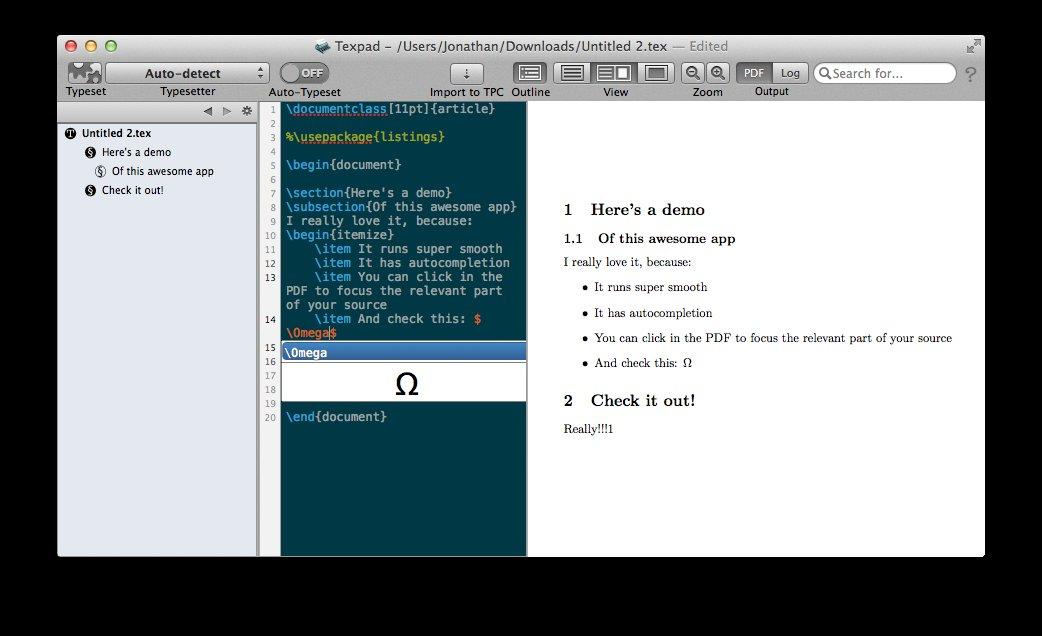Texpad Mac application